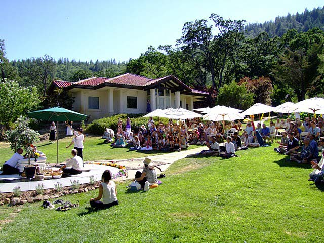 Retreatants gather on the lawn